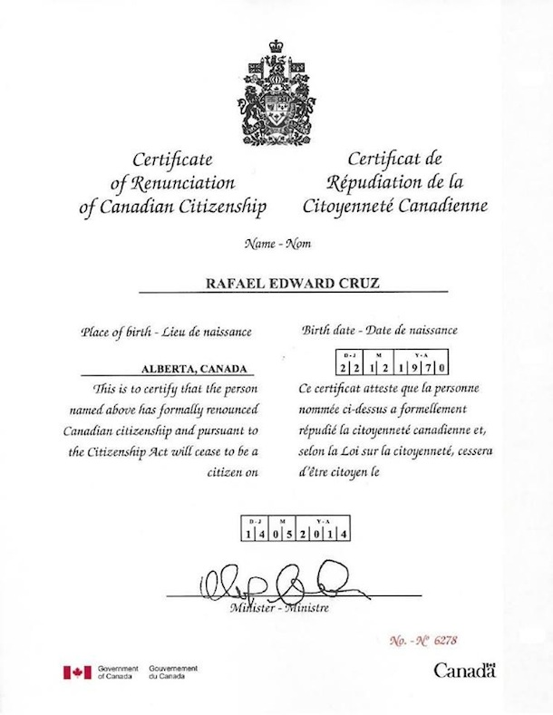 Rafael Edward (Ted) Cruz Renunciation of Canadian Citizenship
